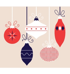 Colorful retro Christmas balls collection vector image