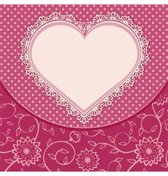 Heart lace frame and dotted background vector image