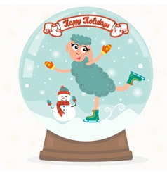 Snow globe with sheep vector