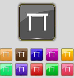 Stool seat icon sign set with eleven colored vector