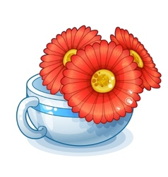 Red flowers in cup isolated on white background vector
