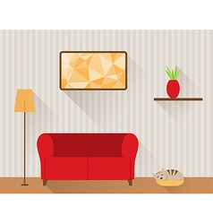 The living room with red sofa and cat vector