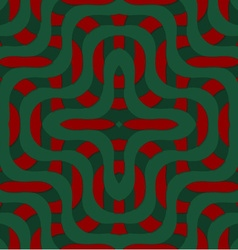 Retro 3d green and red overlapping waves vector