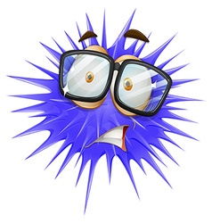 Blue thorn ball with scared face vector image