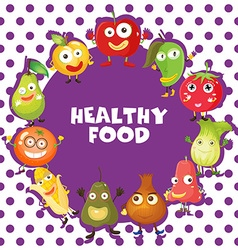 Healthy food with vegetables and fruits vector