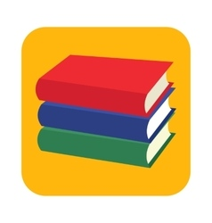 Horizontal stack of three colored books flat icon vector