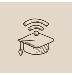 Graduation cap with wi-fi sign sketch icon vector