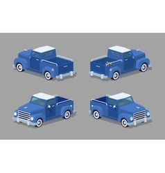 Low poly blue retro pickup vector image