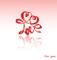 Valentines day card with hearts and word love vector