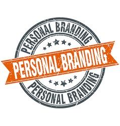 Personal branding round orange grungy vintage vector