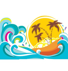Tropical island with waves background vector