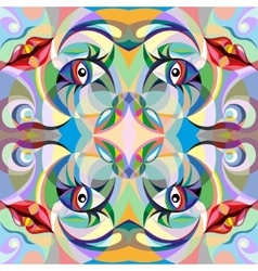 Abstract portrait of woman pattern vector