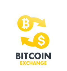 bitcoin to dollar exchange symbol vector image vector image