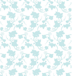 Blue floral silhouette seamless pattern tile vector