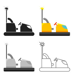 Bumper car icon in cartoon style isolated on white vector
