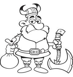 Cartoon Viking holding an axe vector image vector image
