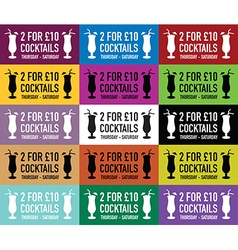 Cocktail colour banners vector