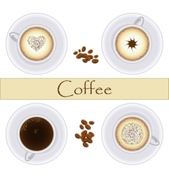 Collection of coffee cups Top view vector image vector image
