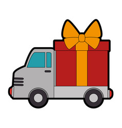 delivery truck with gift vector image