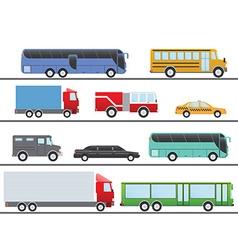 Flat design city transportation flat icons trucks vector