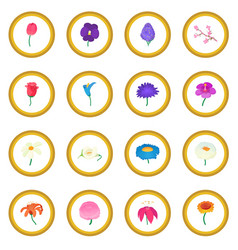 flower icon circle vector image vector image