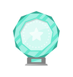 glassy award trophy of round shape vector image