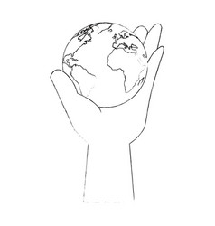 Hand taking earth planet vector