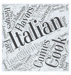 Italian cooking in american kitchens word cloud vector