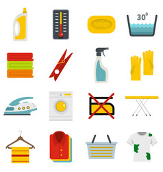 Laundry icons set in flat style vector