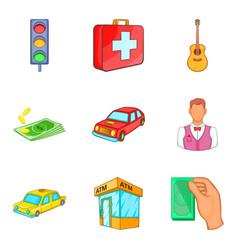 monetary relation icons set cartoon style vector image vector image