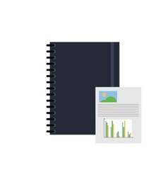 notebook and graph chart icon vector image