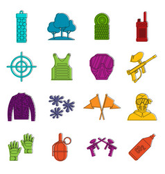 Paintball icons doodle set vector