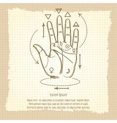 Palmistry sign on vintage background vector
