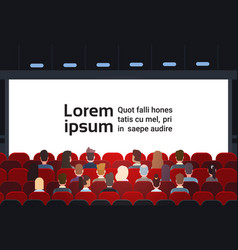 People sit cinema hall back rear view looking ar vector