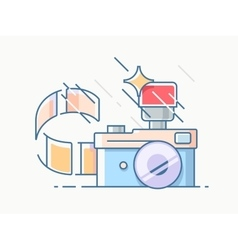 Photo camera with film vector image vector image