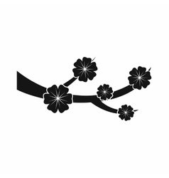 Sakura blossom icon black simple style vector image