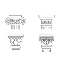 set of silhouettes of capitals vector image vector image