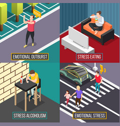 stress people isometric concept vector image