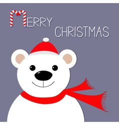 White polar bear in Santa Claus hat and scarf vector image vector image