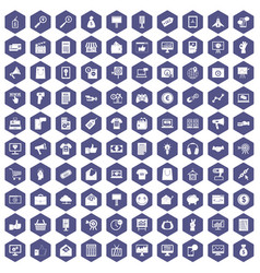 100 internet marketing icons hexagon purple vector