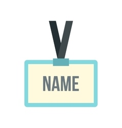 Plastic name badge with neck strap icon flat style vector