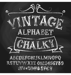 Vintage chalk alphabetical set vector image