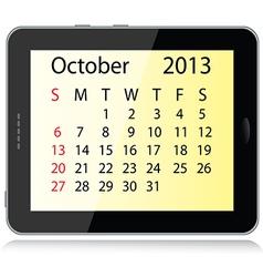 october 2013 calendar vector image