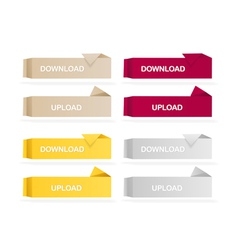 Origami colored web buttons vector