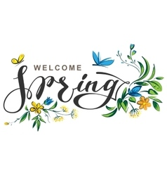 Welcome spring lettering text vector