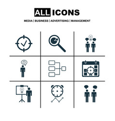 Set of 9 executive icons includes project vector