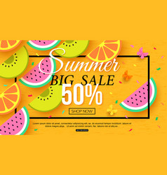 summer sale banner with slices of fruit on yellow vector image