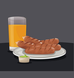 Sausage orange juice and sauce fast food eating vector