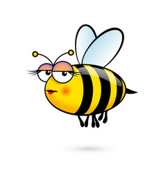 A friendly cute female bee with expression on vector