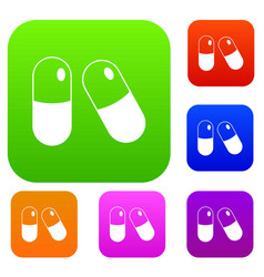 pills set collection vector image